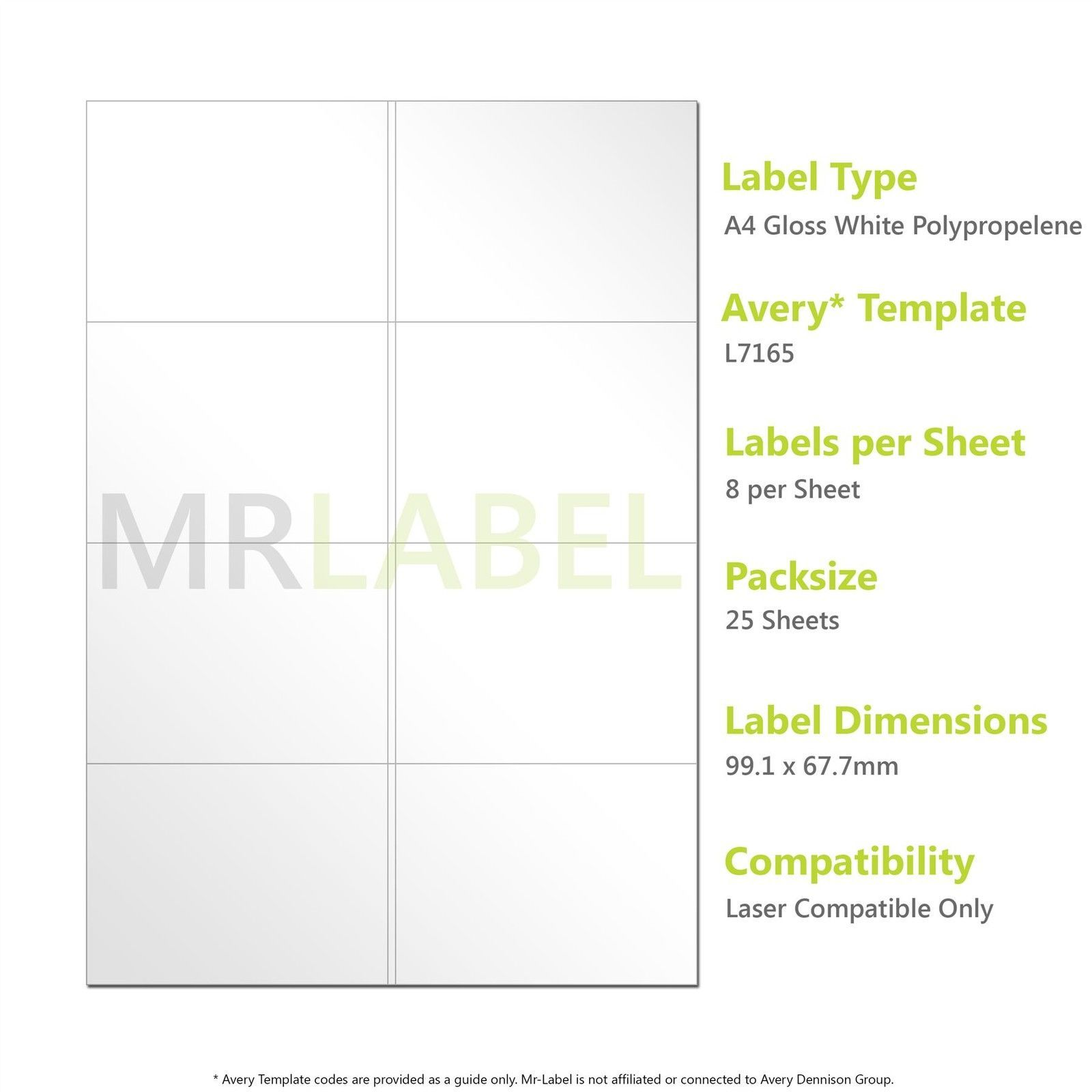 99 1 x 67 7 mm label template - a4 gloss white pp labels 8 per sheet 25 sheets laser